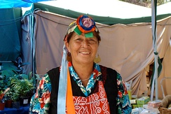 A Mapuche woman in traditional dress