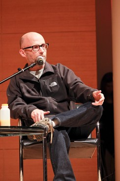 Moby promoting the Destroyed book and album at a performance and discussion in the Brooklyn Museum, 2011