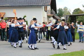 Women wearing the traditional blue dirndl from the Wachau region of Austria.