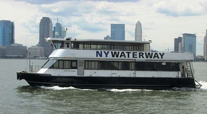 NY Waterway ferry with Jersey City skyline.jpg