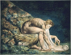 "Newton, by William Blake; here, Newton is depicted critically as a ""divine geometer"". This copy of the work is currently held by the Tate Collection.[127]"