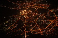 Night aerial view of radial Kazan