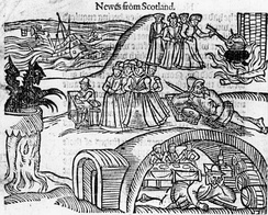 The North Berwick Witches meet the Devil in the local kirkyard, from a contemporary pamphlet, Newes from Scotland