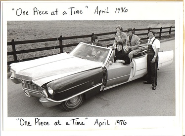 "Johnny Cash's ""One Piece at a Time"" Cadillac. Cash is in the driver's seat and Bruce Fitzpatrick is standing at the far right."
