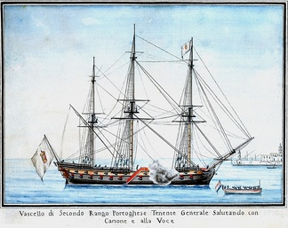 Portuguese two decker ship of the line in the late 18th century.