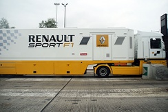 A Renault Sport F1 truck on the A26 near Calais, France.