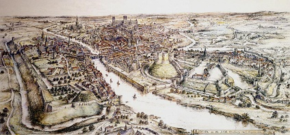 A reconstruction of the city of York in the 15th century, showing the city walls, the Old Baile (left) and York Castle (right)