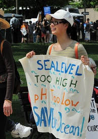 Demonstrator calling for action against ocean acidification at the People's Climate March (2017).
