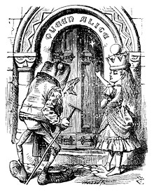 Tenniel's illustrations for Through the Looking-Glass (1871): Alice and the White Queen (left) and Queen Alice and the Frog (right)