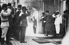 Mehmed VI, the last Sultan of the Ottoman Empire, leaving the country after the abolition of the Ottoman sultanate, 17 November 1922