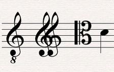 Three types of suboctave treble clef showing middle C