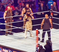 The Wyatt Family confronting The Rock at WrestleMania 32