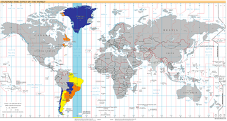 UTC−03:00: blue (January), orange (July), yellow (all year round), light blue (sea areas)