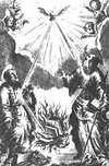 This 1711 illustration for the Index Librorum Prohibitorum depicts the Holy Ghost supplying the book burning fire.