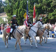 The only horse-mounted color guard in the Corps at the 2007 Tournament of Roses Parade
