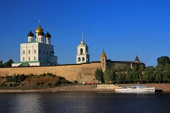 View of the Pskov Kremlin from the Velikaya River in 2014