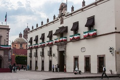 The Casa de la Corregidora, home of Doña Josefa Ortiz de Domínguez and Don Miguel Domínguez who actively participated in the early days of Mexico's independence. The building is now the seat of the executive branch of the state government.
