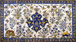 Painted tiles with design of birds from Qajar dynasty