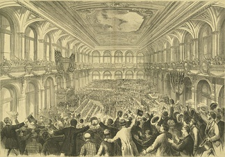 The 1876 Democratic National Convention at the Merchants Exchange Building in St. Louis, Missouri. Samuel J. Tilden and Thomas A. Hendricks were nominated for president and vice president respectively