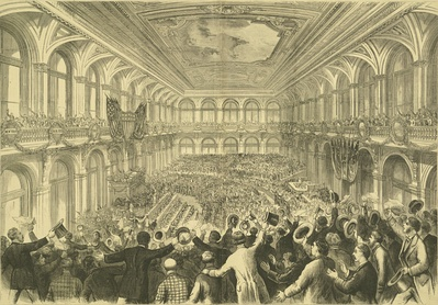 The 1876 Democratic National Convention at the Merchants Exchange Building in St. Louis, Missouri.