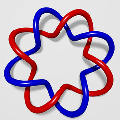 The two curves of this (2,8)-torus link have linking number four.