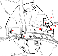 Parisian defences in 14th century: A – the Louvre; B – Palais de Roi; C – Hôtel des Tournelles; D – Porte Saint-Antoine; E – Hôtel St Paul; F – the Bastille