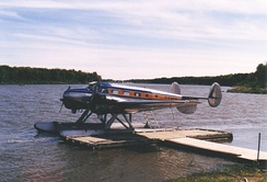 Beech 18 on floats in Manitoba, 1986
