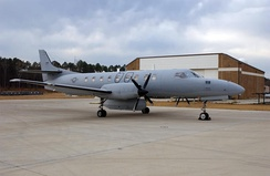 An RC-26B sits at Jacksonville ANG Base in February 2005.