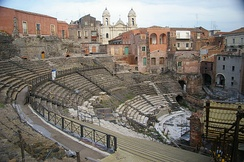 The Church of Saint Francis of Assisi backs the Cavea of the Greek-Roman Theatre.
