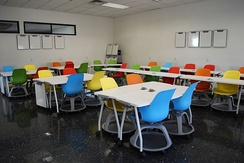 Redesigned classroom with moveable furniture at Monterrey Institute of Technology and Higher Education, Mexico City