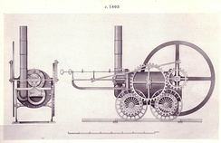 A drawing of the Coalbrookdale locomotive from the Science Museum