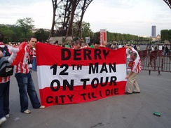 Derry City's twelfth man in Paris, France.