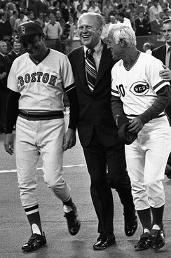 President Ford (center) with Darrell Johnson and Sparky Anderson during ceremonies at the 1976 Major League Baseball All-Star Game