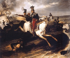 The death of Józef Poniatowski, Marshal of the French Empire, at the Battle of Leipzig