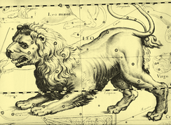 People have interpreted patterns and images in the stars since ancient times.[7] This 1690 depiction of the constellation of Leo, the lion, is by Johannes Hevelius.[8]