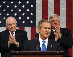 Hastert (top right) during President George W. Bush's 2003 State of the Union address.