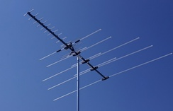 This modern DTV antenna uses a Yagi for UHF reception placed in front of a log-periodic for VHF-high. Although the UHF band has five times as many channels as VHF, the antenna needed to receive them is much smaller in both length and width. An older design that also received VHF-low would have many more elements extending to the right.