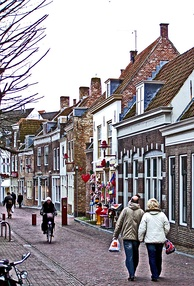 A typical November scene in the Dutch town Middelburg, Netherlands
