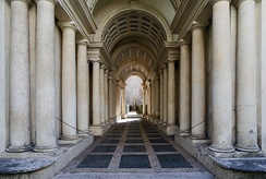 The forced perspective gallery at the Palazzo Spada in Rome by  Francesco Borromini, 1632. The 8.6-metre (28 ft) long gallery gives the illusion of being around four times the length.[1]