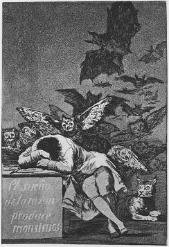 The Sleep of Reason Produces Monsters, c. 1797, 21.5 cm × 15 cm. One of the most famous prints of the Caprichos.