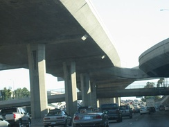 Carpool lanes on the upper deck of the Harbor Freeway, south of Adams Boulevard