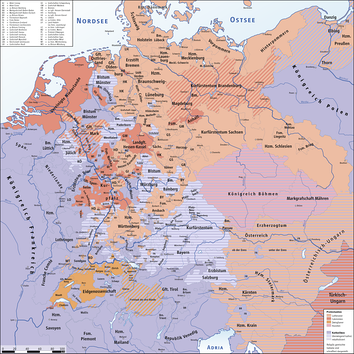 Religious situation in the Holy Roman Empire at the outbreak of the Thirty Years' War in 1618