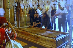 The Stone of the Anointing, believed to be the place where Jesus' body was prepared for burial.