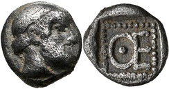 Coin of Themistocles as Governor of Magnesia. Obv: Head of Zeus. Rev: Letters ΘΕ, initials of Themistocles. Circa 465-459 BC
