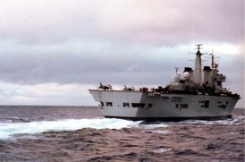 HMS Invincible in the South Atlantic.