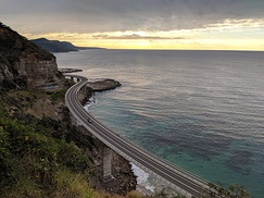 The Sea Cliff Bridge on Lawrence Hargrave Drive bypasses a dangerous section of the Illawarra Escarpment.