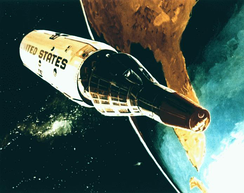 Illustration of the Manned Orbiting Laboratory in space.