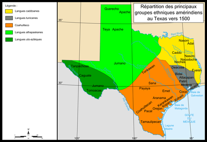 Distribution of the main Native-American groups in Texas in the early 1500s