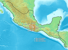 Map showing the historic Mixtec area. Pre-Classic archeological sites are marked with a triangle, Classic sites with a round dot and Post-classic sites with a square.