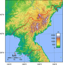 Topographic map of North Korea